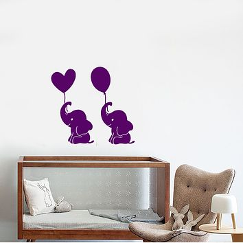 Vinyl Wall Decal Cartoon Baby Room Decor Elephant Air Balloons Stickers (3796ig)