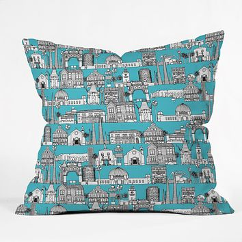 Sharon Turner Los Angeles Blue Throw Pillow