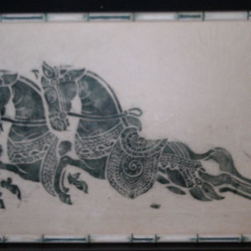Vintage asian oriental  Thai Temple  Rubbing Thailand art ink green white horses picture