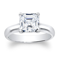 Ladies 18kt white gold plain solitaire engagement ring with natural 2ct Asscher Cut White Sapphire center gemstone