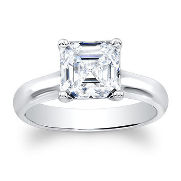 Ladies Platinum classic engagement ring with natural 2ct Asscher Cut White Sapphire center gemstone