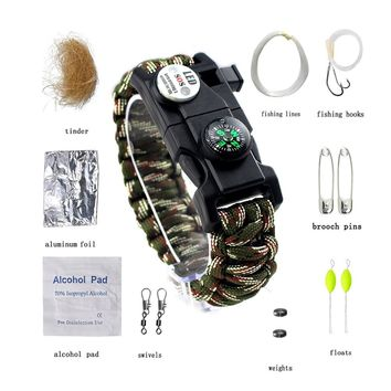Outdoor Survival Bracelet Multifunctional Camping Paracord Emergency Tool Kit SOS LED Light Fishing Kit Compass Whistle Knife