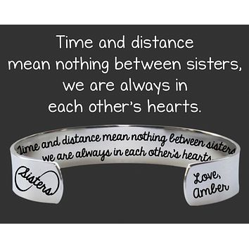 Sister Gifts | Time and Distance Cuff Bracelet
