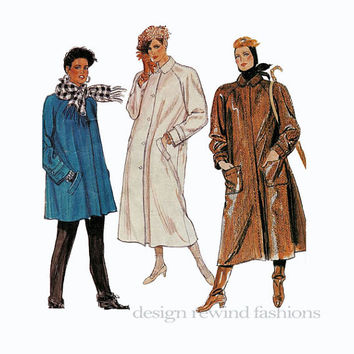 1980s Raglan Sleeves SWING COAT Lined, Loose Fitting Detachable Liner McCalls 2770 Size 14 Bust 36 UNCUT Petite-Able Vintage Sewing Pattern