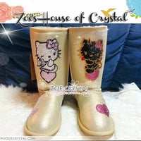WINTER Golden Metallic Sheepskin Wool Boots with Hello Kitty