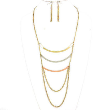 Gold Tri-Tone Chain Drape Curved Triple 3 Bar Necklace & Earring Set
