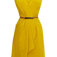 Oasis All Dresses | Ochre Silk Drape Dress | Womens Fashion Clothing | Oasis Stores UK