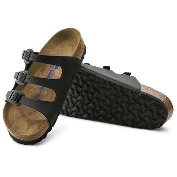 Sale Birkenstock Florida Soft Footbed Birko Flor Black 453431 Sandals