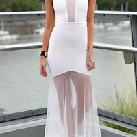 White Mesh Overlay Elastic Waist Sleeveless Maxi Dress