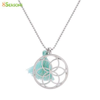 8SEASONS Handmade Seed Of Life Pendants Necklace Flower of Life Mint Green Tassel Summer Fashion Jewelry 53cm 1 Piece