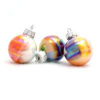 "Made to Order - 12 Mini Christmas Balls 1-1/4"" High Ornaments Hand Painted Inside Iridescent Glass"