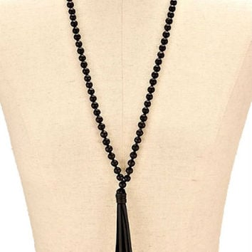 Black Wood Bead Long Necklace with Leather Tassel