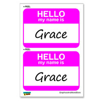 Grace Hello My Name Is - Sheet of 2 Stickers