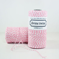 Raspberry and White Stripes Bakers Twine - 240 yards Spool Baker String