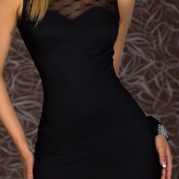 Black Flower Detailed Cut-Out Bodycon Mini Dress