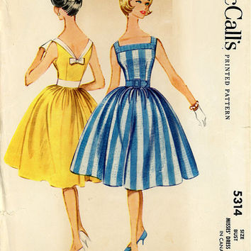 McCall's 5314 Sewing Pattern Retro 1960s Rockabilly Style Sleeveless Sun Garden Party Dress Full Skirt Square Neck Bust 36