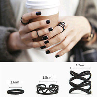 3Pieces Women Punk Black Stack Plain Above Knuckle Ring Midi Finger Tip Rings Set
