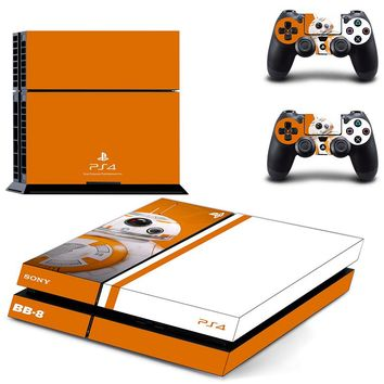 PS4 Stickers Skin Star Wars: The Force Awakens For Playstation 4 Console+2 Controllers Skin Decals BB-8