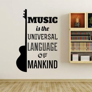 Music Is The Universal Language Of Mankind Quote Wall Vinyl Decal Sticker Art Graphic Sticker