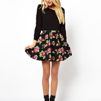 ASOS Skater Skirt in Tapestry Floral