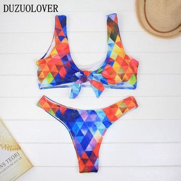 Bikini 2017 Padded Knotted Bralette Bikini Set Watercolor Diamond Women Swimwear Sexy Beach Suits Ladies Swimsuit Biquini Mulher