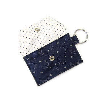 Mini key chain wallet/ simple ID Key chain pouch / Business card holder/ Keychain coin purse / Moon and Stars - Navy Blue and Gray