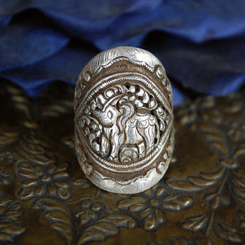 Elephant Repoussee Ring - Smaller Size! Good Luck Elephant Trunk Up Ring!