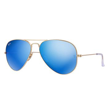 Ray Ban Aviator Sunglasses Matte Gold Frame/Crystal Green Blue Mirror Lens