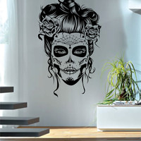 Day of the Dead Girl Version 2 Art Decal Sticker Wall Vinyl