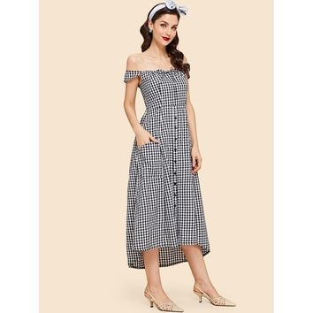 Black And White Offshoulder Gingham Button Front Dress