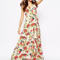 Yumi Kim Wrap Front Silk Maxi Dress In Floral Peony Print