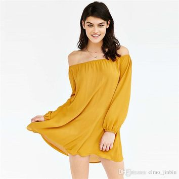 Dress Womens Holiday Off Shoulder Party Ladies Casual Dress Long Sleeve Bohe dress women YY 5063