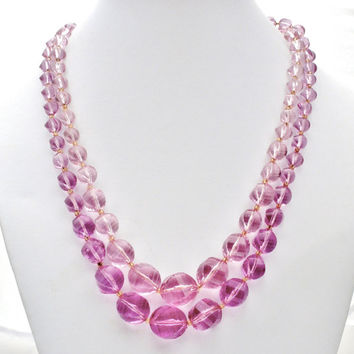 Purple Bead Necklace, Double Strand, Lucite Beads, Vintage Necklaces, Rockabilly, Fashion Jewelry, Beaded Necklace, Purple Beads