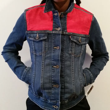 Crimson Red Panel Women's Denim Levi's Trucker Jacket