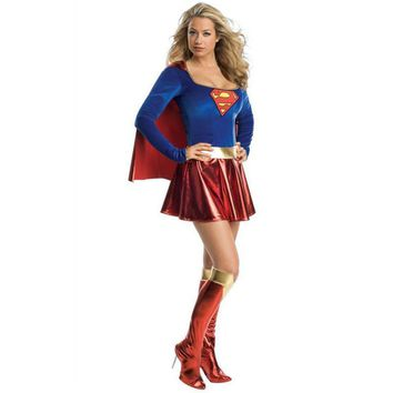 Adult Supergirl Costume Cosplay 2017 Super Woman Superhero Sexy Fancy Dress with Boots