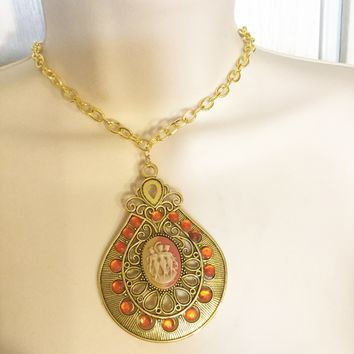 Vintage Gold And Orange Cameo necklace/Free Shipping