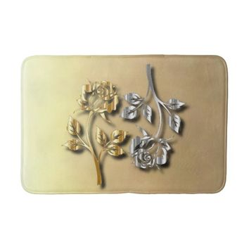 Two Golden And Silver Roses With Shadows Bath Mat