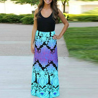 Black Aqua Color Block Floral Maxi A-Line Dress