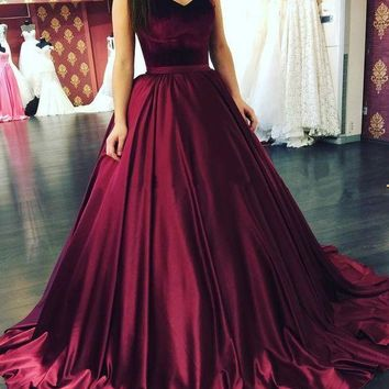 A Line Long Strapless Burgundy Prom Dress
