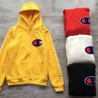 BAPE x CHAMPION Embroider Big Logo Long Sleeve Pullover Hoodie Sweater Yellow