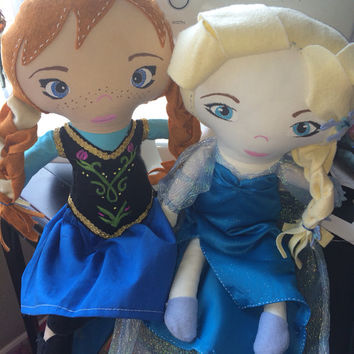 Queen Elsa and Princess Anna Frozen Dolls made to order