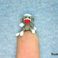 Micro Sock Monkey  Miniature Crochet Gray Sock Monkeys  by SuAmi