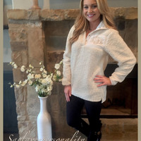 Monogrammed comfy Sherpa pullovers