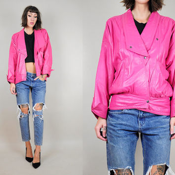 hot pink LEATHER 80's Draped snap motorcycle jacket AVANT GARDE slouchy minimalist sm / med