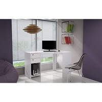 """Modest Palermo Classic """"L"""" Shaped Desk with 2 Drawers and 1 Cubby in White"""