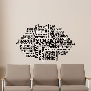 Yoga Words Cloud Wall Vinyl Decal Motivational Namaste Meditation Lotus Gym Fitness SportBoy Sticker Poster Kids Nursery Mural Art Deco Made in US