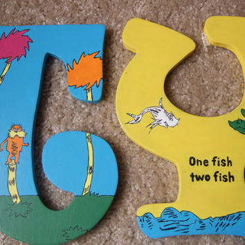Hand Painted Dr Seuss Wooden Letters by CreationsbyReb on Etsy
