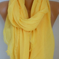 Yellow Cotton Scarf Soft Shawl Spring Summer Cowl Oversized Wrap Gift Ideas For Her Women Fashion Accessories Mother Day Gift Scarves