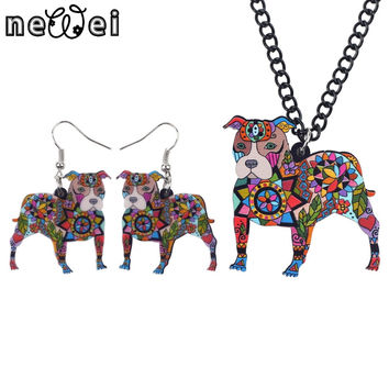 Newei Brand Jewelry Sets Acrylic Pit Bull Dog Necklace Earrings Choker Collar Fashion Jewelry 2016 News Spring Women Girl Gift