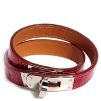 HERMES Shiny Alligator Kelly Double Tour Bracelet Small Rouge Vif